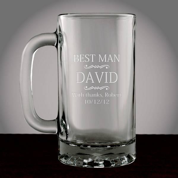 Wedding Gifts Best Man: Personalized Best Man Glass Beer Mug