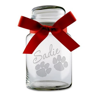 Paw Print Personalized Glass Treat jar