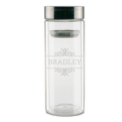Elegant Etched Glass Thermos with Strainer