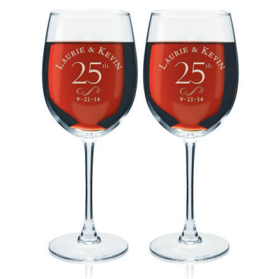25th Anniversary Personalized Wine Glass Set