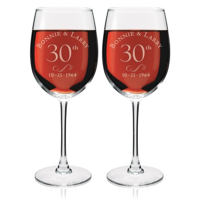 Personalized Anniversary Wine Glass Set
