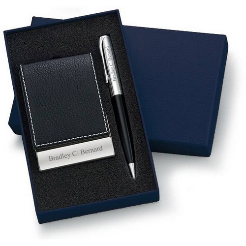 Personalized Designer Black Leatherette Vertical Card Holder and Pen Set