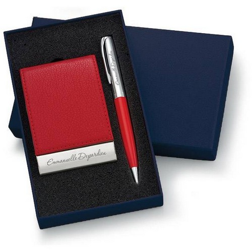 Personalized Designer Red Leatherette Vertical Card Holder and Pen Set