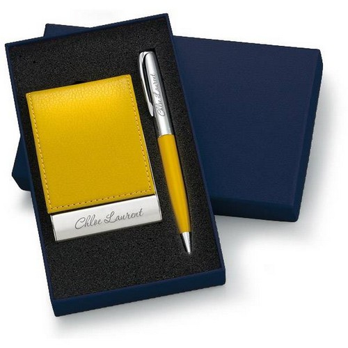 Personalized Designer Yellow Leatherette Vertical Card Holder and Pen Set