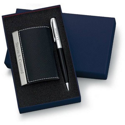 Personalized Designer Black Leatherette Card Holder and Pen Set