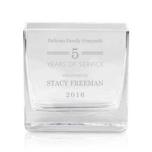Personalized Years of Service Glass Vase