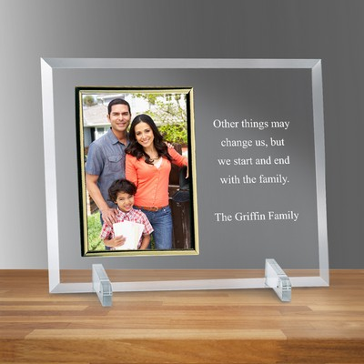 "Glass Vertical with Gold Rim 5"" X 7"" Photo Frame"