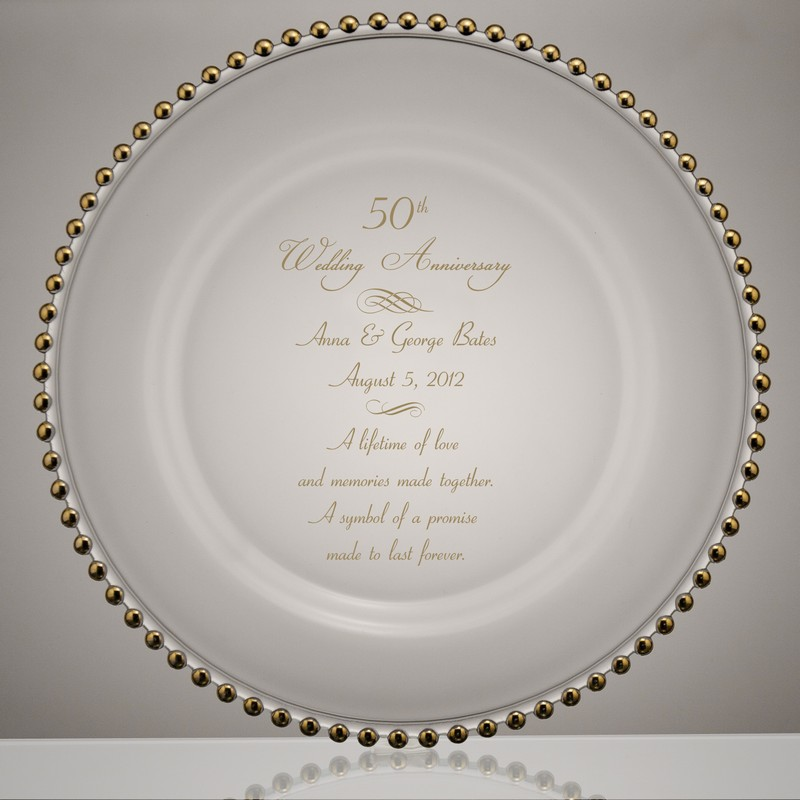 Golden Beads 50th Wedding Anniversary Gl Plate