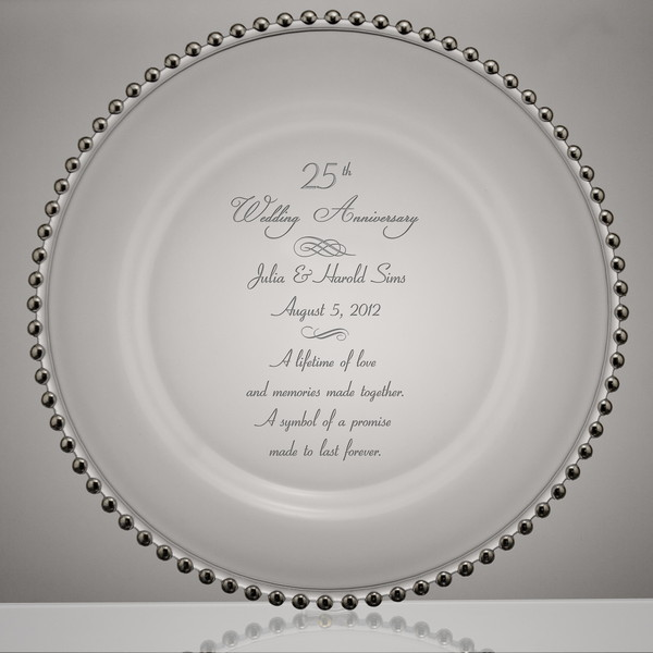 Silver Point 25th Wedding Anniversary Gl Plate