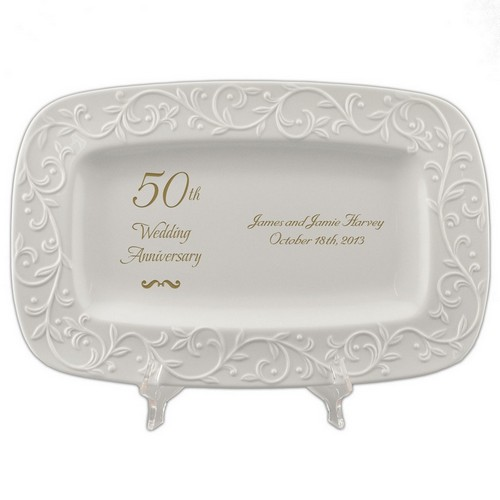 50th Golden Wedding Anniversary Lenox Carved Tray