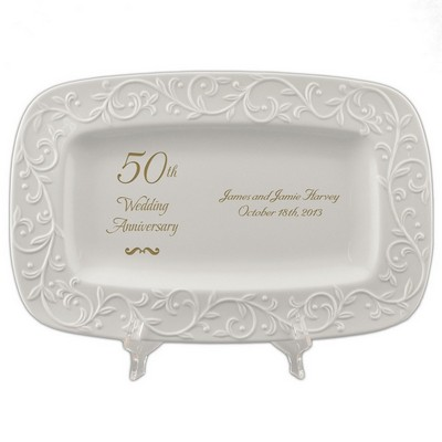 50th Golden Wedding Anniversary Carved Tray