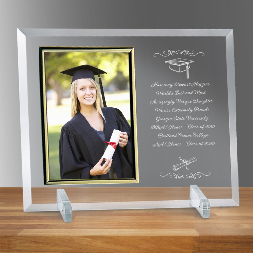 Graduation 8x10 Curved Glass Photo Frame