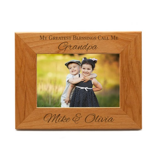 Greatest Blessings Personalized Wood Picture Frame for Grandparents