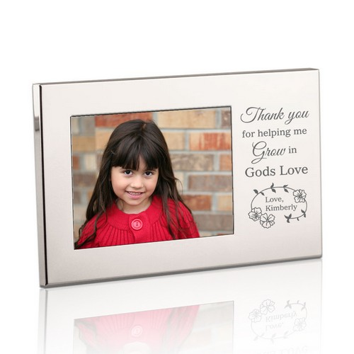 Growing in Gods Love Personalized Silver Picture Frame