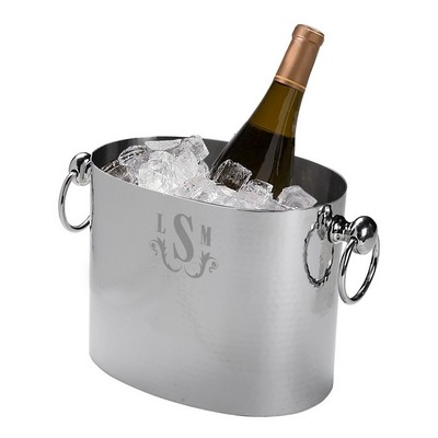Hammered Stainless Steel Monogrammed Ice Bucket