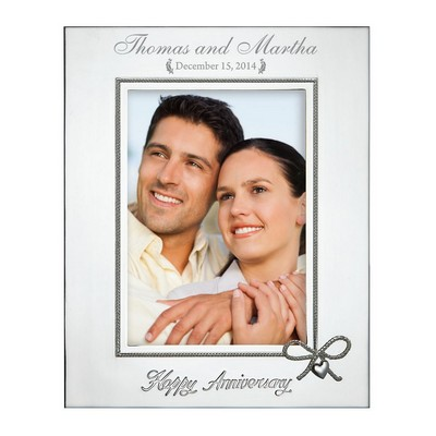 Happy Anniversary Personalized Lenox Silver Plated 5x7 Picture Frame