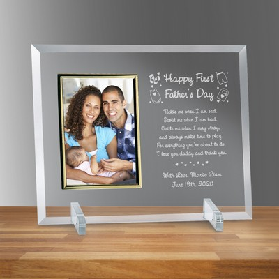 "Happy First Fathers Day Glass Personalized 4"" X 6"" Photo frame"