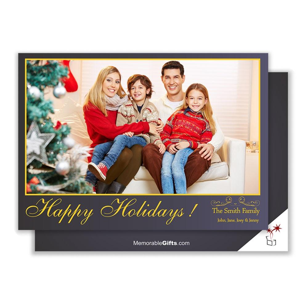 happy holiday family photo card