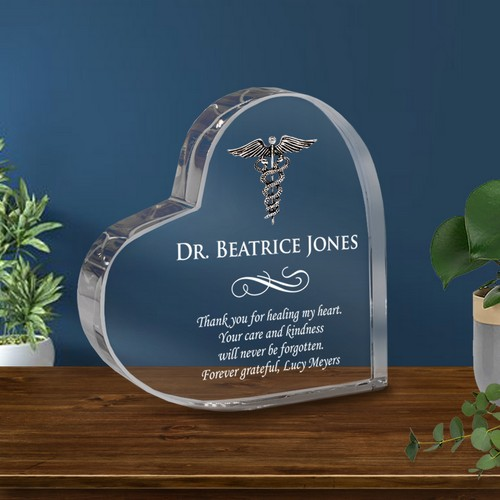 Healing Heart Doctor Keepsake Crystal Plaque Personalized with Silver Caduceus