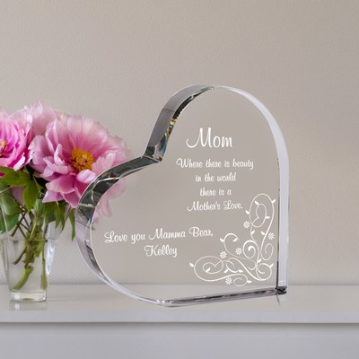 Heart Shaped Quality Crystal Keepsake for Mom
