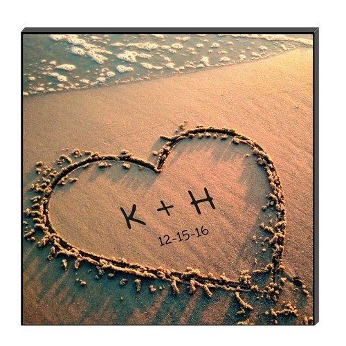 Heart in Beach Sand Personalized Wall Art