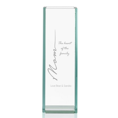 Heart of the Family Personalized Tall Glass Vase for Mom