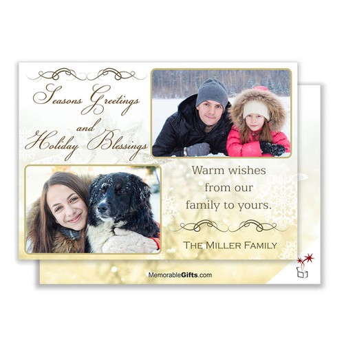 Holiday Blessings Family Photo Card
