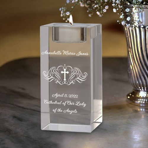 Holy Cross Personalized Tea Light Candle Holder