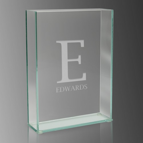 Initial Monogram Modern Rectangle Glass Vase