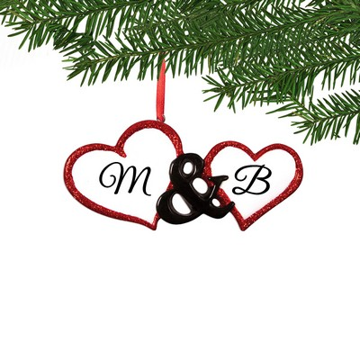 Initialed Double Heart Ornament for Couples