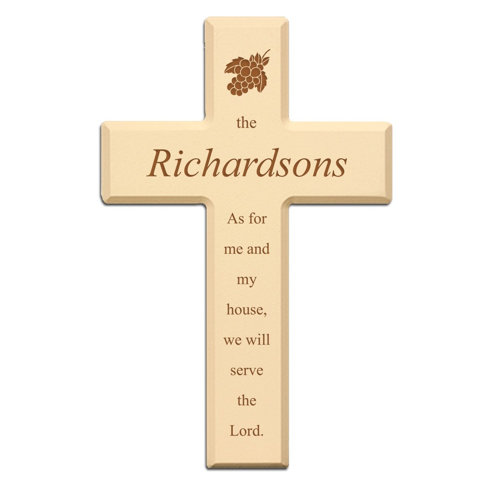 Ivory Color Personalized Wood Wall Cross