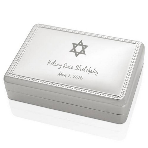 Silver Star of David Jewelry Box