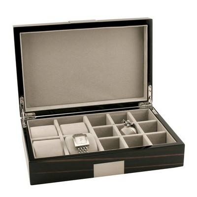 Ebony Wood Piano Finish Watch and Cufflink Case