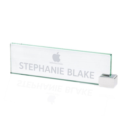 Jade Glass Business Desk Nameplate with Chrome Holder