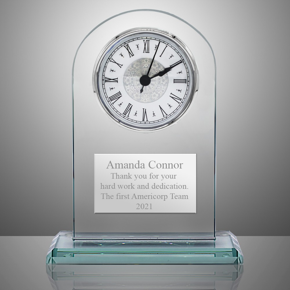 Jade Glass Personalized Desk Clock