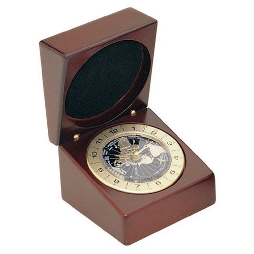 Personalized Deluxe Rosewood Finish World Time Clock