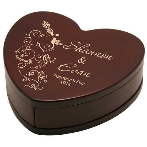 Solid Rosewood Personalized Valentines Day Heart Keepsake Box