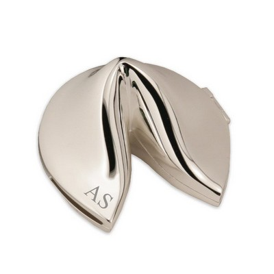 Silver Fortune Cookie Keepsake Box