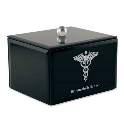 Personalized Black Glass Keepsake Box with Medical Caduceus