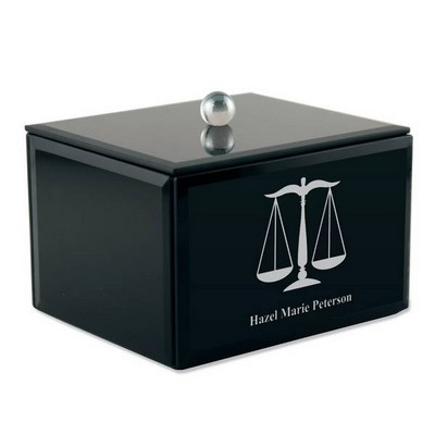 Personalized Black Glass Keepsake Box with Legal Scales