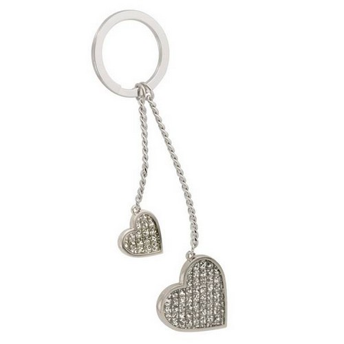 Double Heart Glitter Key Chain