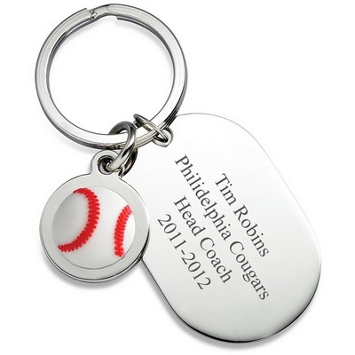 Personalized Dog Tag Baseball Keyring