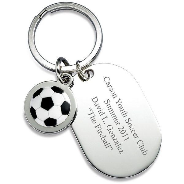 225 & Personalized Dog Tag Soccer Keyring