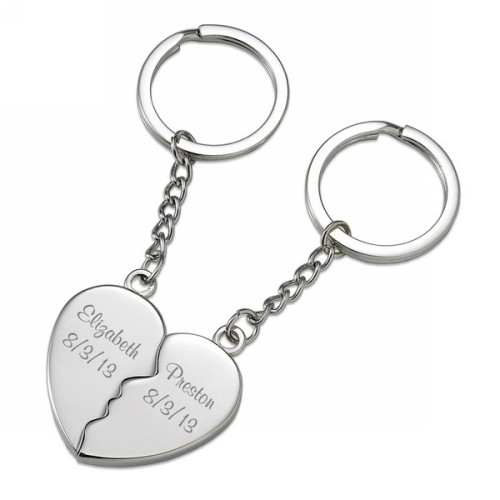 Two Souls One Heart Sweethearts Personalized Couples Key Chain