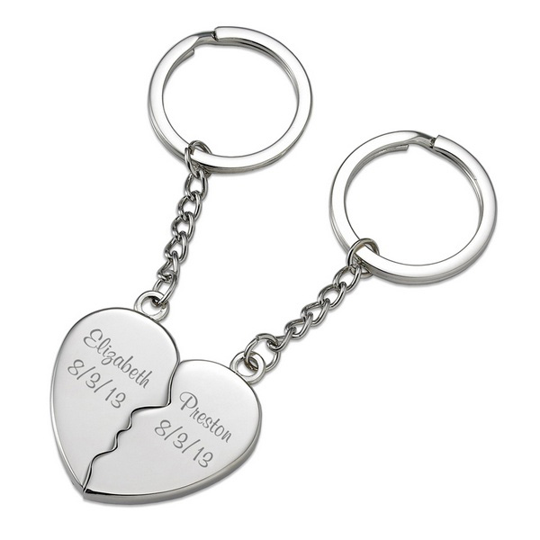 Engraved split heart keychains
