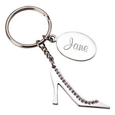 Personalized High Heel Key Chain with Crystal Accents