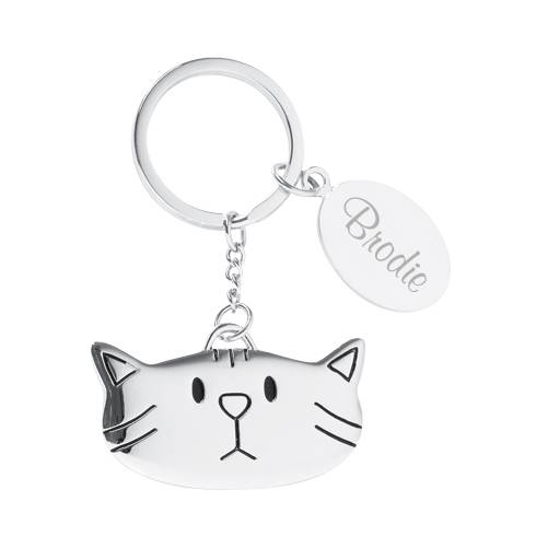 Hand-stamped aluminum cat-shaped keychain