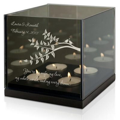 Lovebirds Personalized Tealight Candle Holder