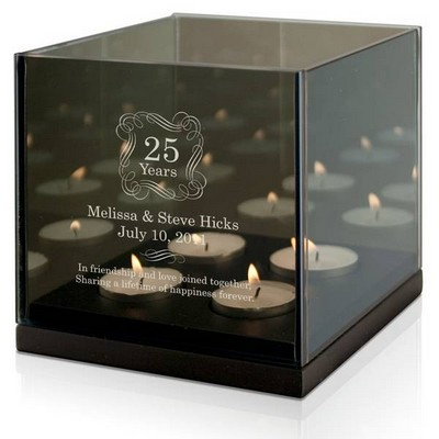 Personalized Anniversary Quad Tea light Candle Holder