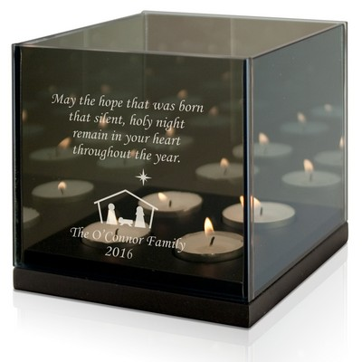 Family Nativity Quad Tea light Candle Holder
